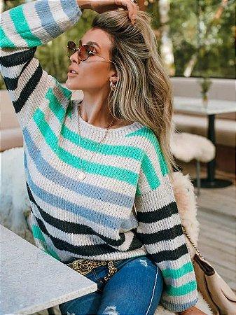 Blusa de tricot manga longa listrada