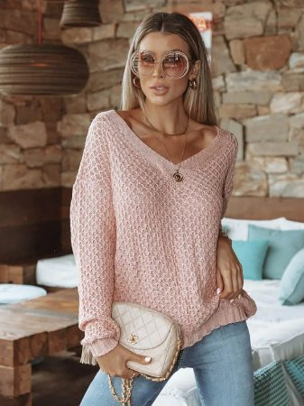 Blusa de tricot manga longa decote V
