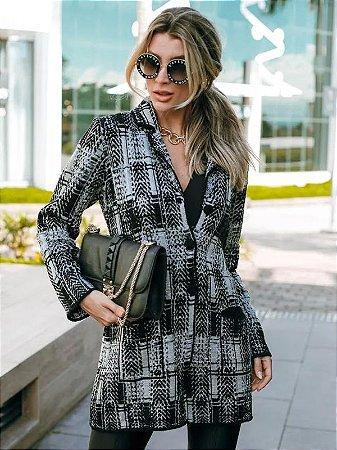 Casaco de tricot xadrez longo