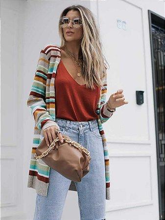 Casaco de tricot com listras coloridas