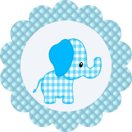 Adesivo Redondo 5x5 Elefante 16 Unidades