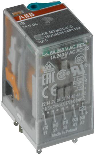 CR-M012DC4 RELE MINIATURA 12VDC 4 CONTATOS 1SVR405613R4000 ABB