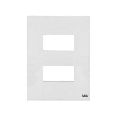 Placa 4x2 2 Módulos Separados Horizontal N1372.2 BL Branca, Linha Unno, ABB