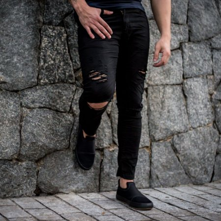 CALÇA JEANS CITY DENIM 86 BLACK DESTROYED