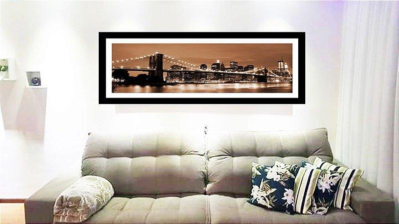 Quadro Strass Cristais Swarovski Ponte NY Manhattan Sépia