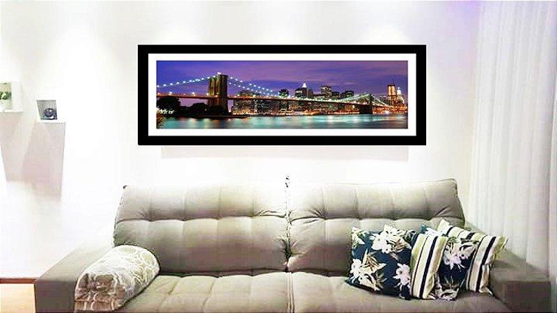 Quadro Strass Cristais Swarovski Ponte NY Manhattan Colorido