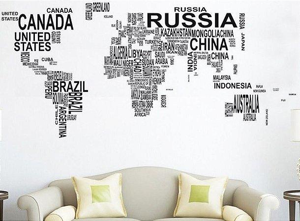 Adesivo Mapa Mundial Nome de Países