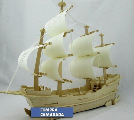 Navio Quebra-Cabeça 3D Madeira