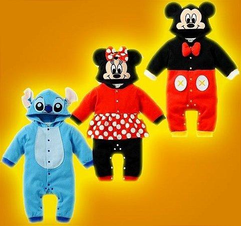 Macacão Infantil Mickey Minnie e Stitch