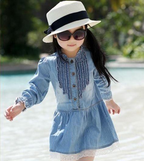 Vestido Infantil Jeans Renda
