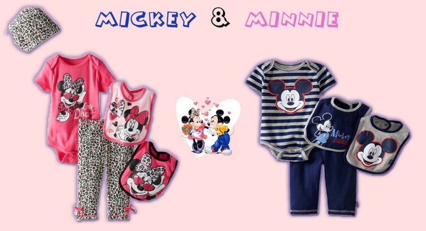 Conjunto Infantil + Babador Mickey & Minnie