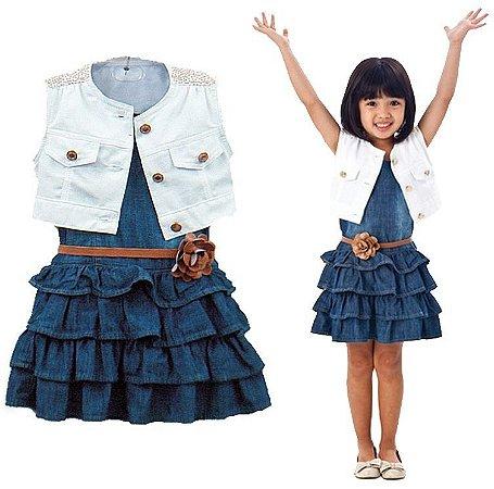 Conjunto Infantil Vestido + Colete Jeans