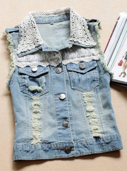 Colete Jeans Renda