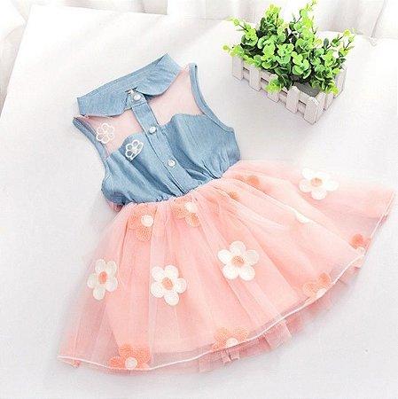 Vestido Infantil Jeans Floral Verão 2015