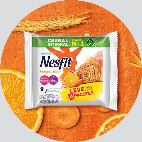 Biscoito Nesfit Laranja e Cenoura Sachê 4X22 grs