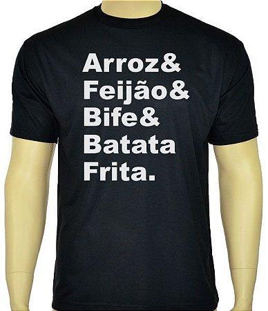 Camiseta Arroz, Feijão, Bife e Batata Frita.