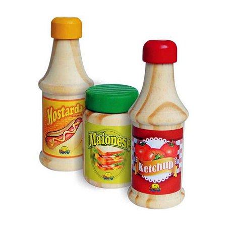 Ketchup Maionese e Mostarda em Madeira