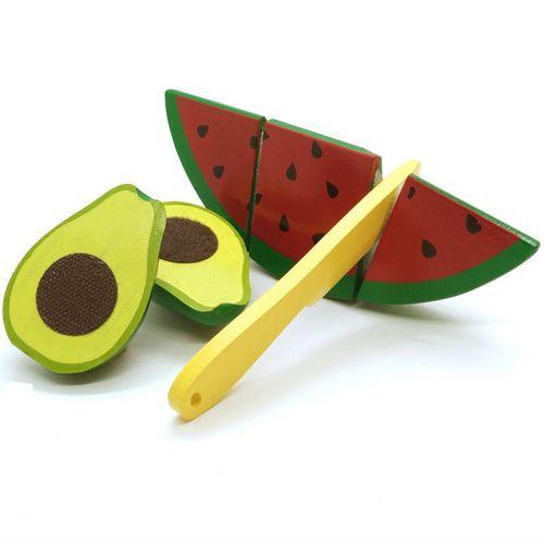 Kit Frutas Com Corte Melancia e Abacate em Madeira