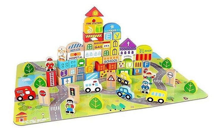 Blocos Cidade 100 peças em Madeira