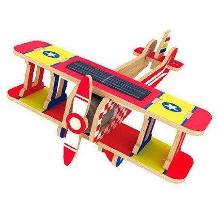 Quebra-Cabeça 3D Biplano Movido a Energia Solar