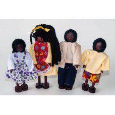 Kit Bonecos Família Negra (4 Bonecos)