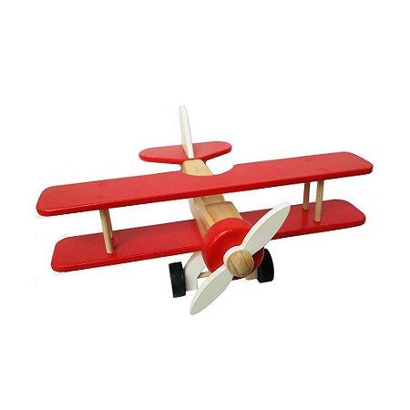 Aviao Bi-Plano Vermelho