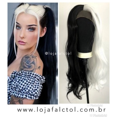 Peruca Lace front wig 2 cores Cruela Devil