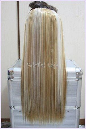 Aplique de tic tac cabelo sintético  - Loiro dourado com Mechas Platinadas - Liso- 60cm- 100gramas- Tela P