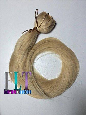 Aplique tic tac cabelo 100% humano  loiro claríssimo descolorido- 60cm  - 120gramas