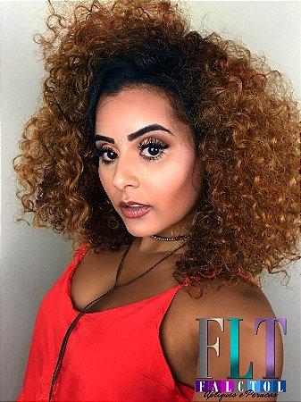 CAROLINA FALCÃO - Lace Front wig  Cacheada  DREAW CUT - 4A - Várias Cores - Encomenda