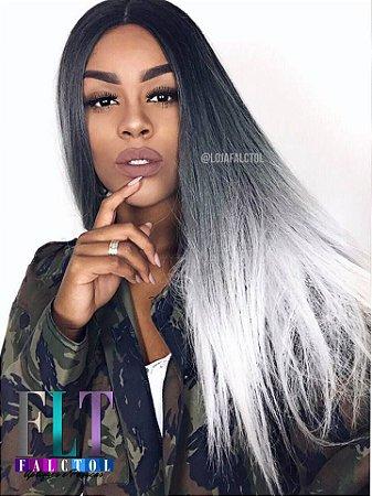LAIS OLIVEIRA - Lace Front wig mlf99 yani  - PRETO COM OMBRE HAIR PLATINADO- ENCOMENDA