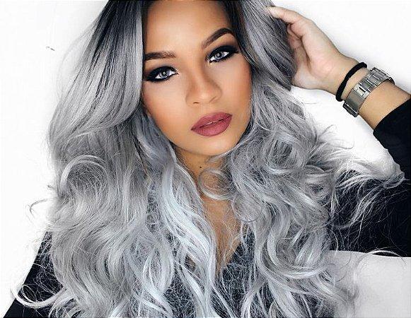 Peruca Lace front wig cacheada platinada - PRONTA ENTREGA