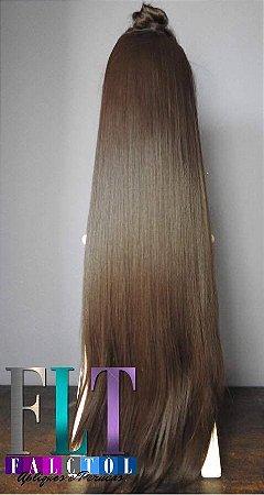 Aplique tic tac cabelo sintético -  Chocolate - 80cm - 130gramas  - Tela Mine