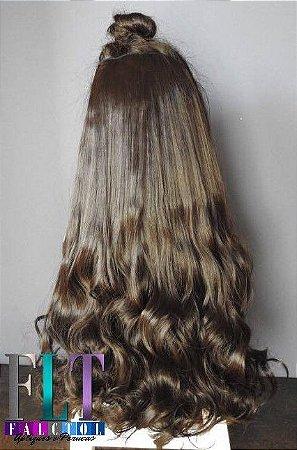 Aplique tic tac cabelo sintetico cacheado castanho escuro 55cm