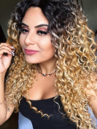 Peruca lace front wig cacheada - Loiro Mechado  ENCOMENDA