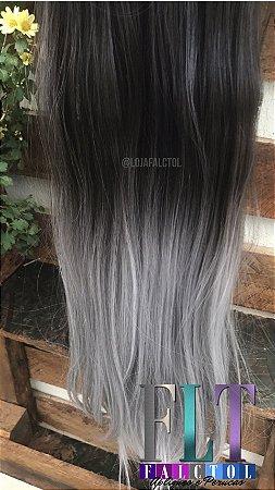Aplique tic tac Castanho Escuro com Ombre hair  Cinza - Liso - 70cm - 110 gramas -  Tela P