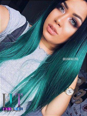 CA MARTINS - Lace front wig- Ombre hair verde Lisa 60cm Repartição ao meio - PRONTA ENTREGA