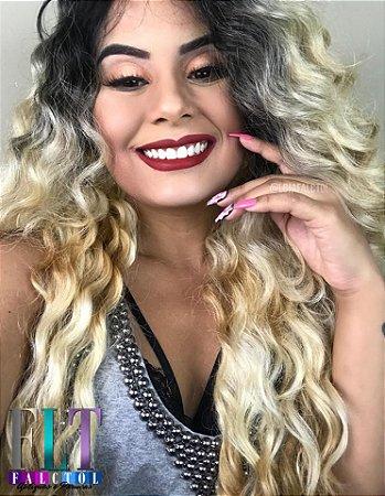 Lace front wig ondulada  Repartição livre cabelo humano + fibra futura -  Ombrê loiro - ENCOMENDA