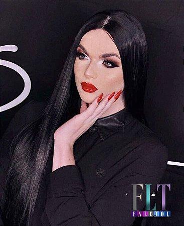Peruca Lace front wig preto liso 80cm -  MINAJ -  Repartição livre -  ENCOMENDA