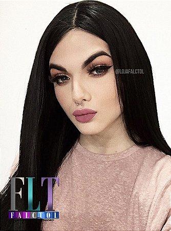 Peruca Lace front wig preto liso 80cm -  MINAJ -  repartição livre - PRONTA ENTREGA
