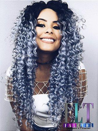 CAROLINA FALCÃO - Lace Front wig cacheada - MOANA - Blue Silver  - PRONTA ENTREGA