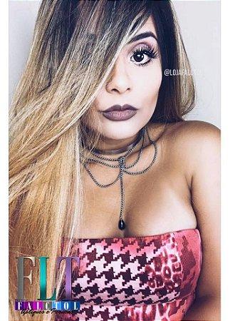 CAROLINA FALCÃO - Lace front wig- Loiro mel mechado  -LUNA -  ENCOMENDA