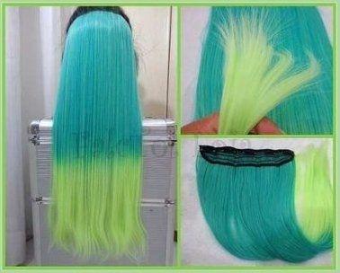 Aplique de tic tac sinteico verde acqua com ombre hair limão 60cm