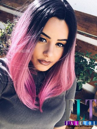 CAROLINA FALCÃO - Wig com repartição chanel - Ombré hair ROSA - PRINCESS - PRONTA ENTREGA