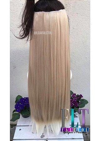 Aplique tic tac cabelo sintético - Loiro claro com luzes e pontas platinadas - 70cm - 130 gramas - Tela mini