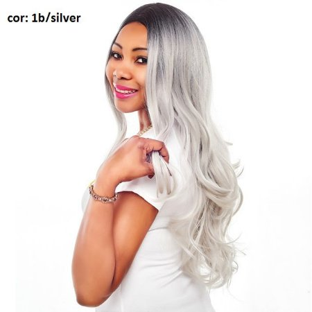 Wig peruca sintética  60cm  lisa com cachos -  Lya - Ombrê hair - Varias cores - Encomenda