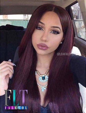 Lace front wig - 75cm -  Lisa - Repartição livre - Cor Marsala  -  ENCOMENDA