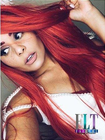 Peruca lace front wig lisa  - 75cm  Repartição livre  Vermelho red - ENCOMENDA