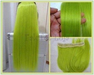 Aplique de tic tac -  Verde Fluorescente liso - 60cm 100 gramas Thais Silva