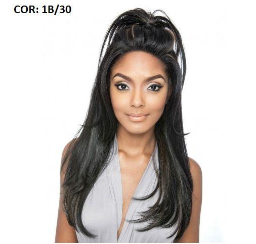Lace front wig - Liso - Humano + fibra -  Repartição livre 13x4 - Varias cores - ENCOMENDA